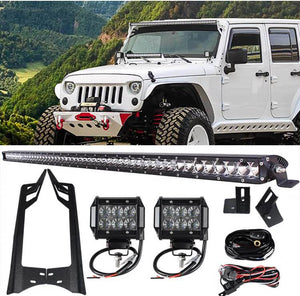 "Jeep Wrangler PACK 07 - 2017 50"" (SINGLE ROW) LIGHT BAR / 2 PODS AND ALL BRACKETS"