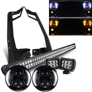 "Jeep JK - Pack  07 - 2017 (52"") Light bar / Night back headlights / 2 pods and all brackets"