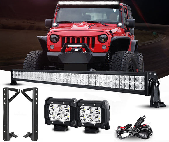 Jeep Wrangler Lightbar Combo (52 Inch Lightbar, Pods, Mounts, Wiring)