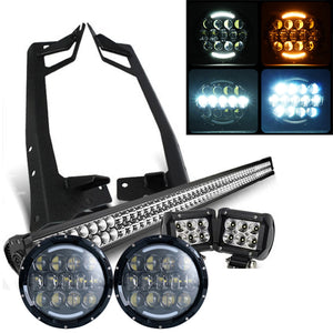 "Jeep Wrangler - PACK 07 - 2017 (52"") LIGHT BAR / LED MVP 2 HEADLIGHTS / 2 PODS AND ALL BRACKETS"