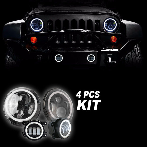 Jeep Wrangler LED Projector halo headlights & Fog Combo