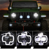 "NEW 9"" Round LED Halo High Low Beam Headlight with DRL Daytime Driving Lights for Jeep Wrangler JL 2018 2019"