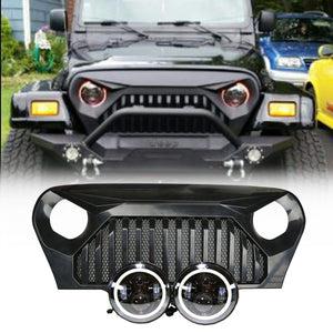 Jeep TJ - LED Projector headlights halo &  Vader Grille combo pack