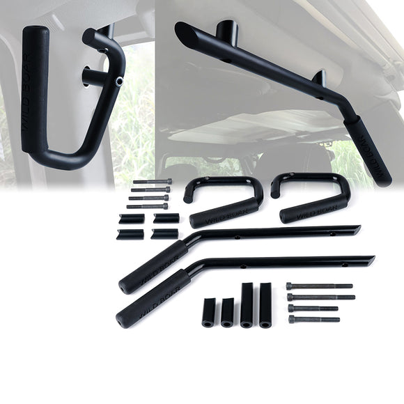 Black Front and Rear Grab Handles for 2007 - 2017 Jeep Wrangler