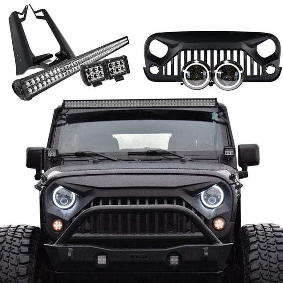 Jeep Wrangler JK Mega Bundle, Light Bar, Pods, Halo Headlights, Vader Grille