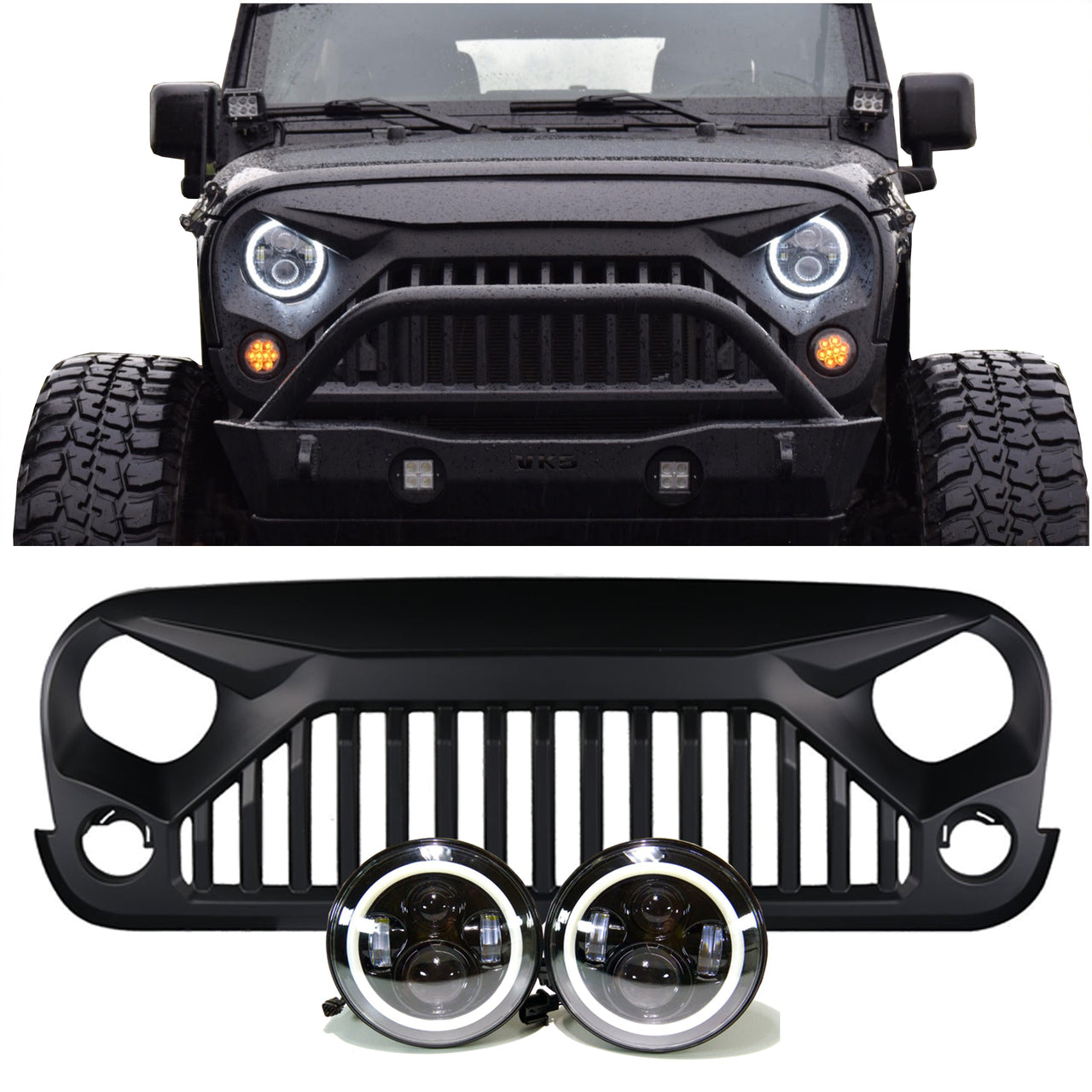 Halo Lights For Jeep Wrangler >> Jeep Wrangler Projector Headlights Halo Vader Grille