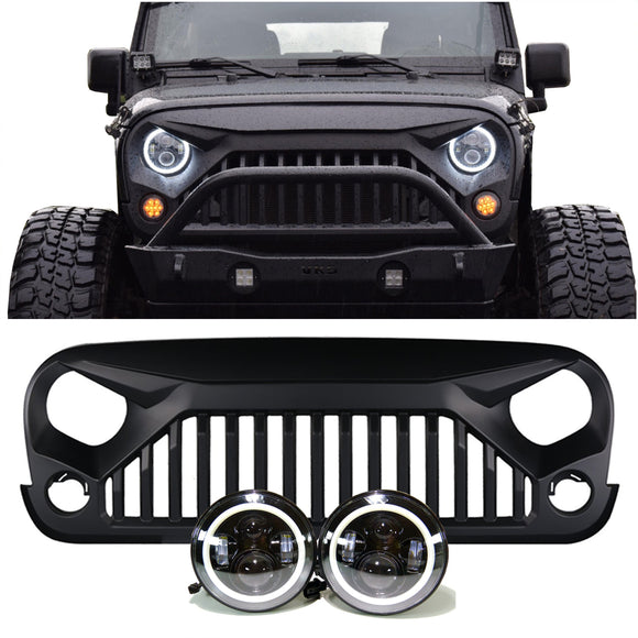 Jeep Wrangler - PROJECTOR HEADLIGHTS HALO & VADER GRILLE COMBO PACK