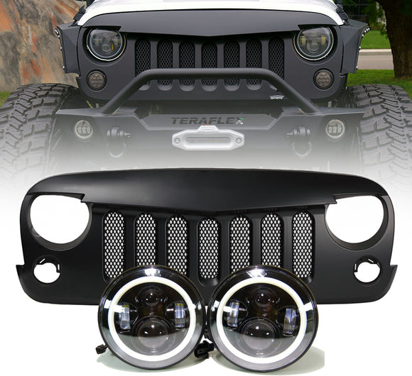 Jeep JK - Projector headlights halo & Grille combo pack