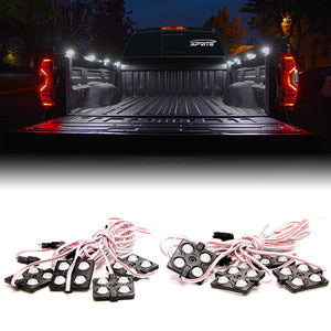 Xprite 8 LED Square Rock Light Pods Truck Bed Lighting Kit w/ Switch