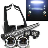 "Jeep JK - Pack 07 - 2017 (52"") Light bar / LED Projector halo headlights / 2 pods and all brackets"