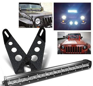 "20/"" Led Light Bar+Steel Hood Mounting Brackets For 07-16 Jeep Jk Wrangler"