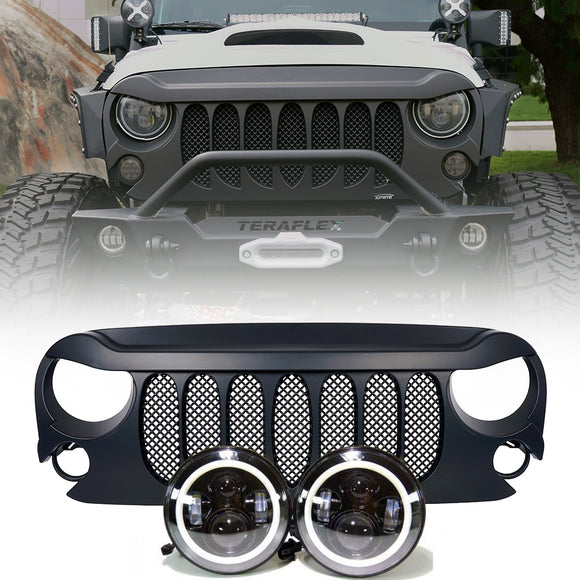 Jeep Wrangler  - Projector headlights halo & Beast Grille combo pack