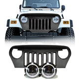 Jeep TJ - LED Projector headlights halo & Grille combo pack