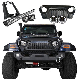 Jeep Wrangler - Mega Bundle, Light Ba, Pods, Halo Headlights, Vader Grille