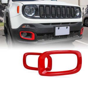 Red Outer Fog Light Trim for 2015-2017 Jeep Renegade