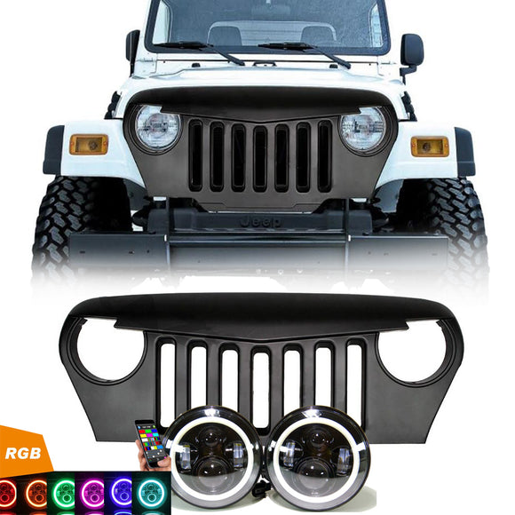 Jeep Wrangler TJ - LED Projector headlights RGB halo & Grille combo pack