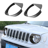 Black Angry Birds Headlight Bezels for 2015-2017 Jeep Renegade