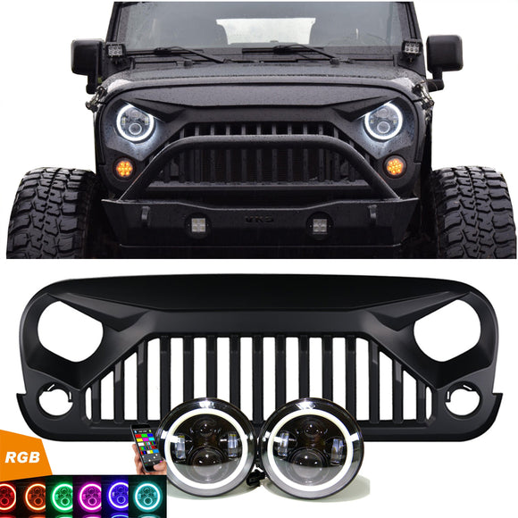 Jeep Wrangler PROJECTOR HEADLIGHTS RGB HALO & VADER GRILLE COMBO PACK