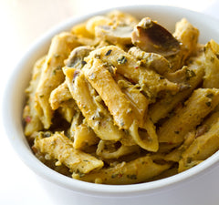 Acorn Alfredo Penne Pasta.  My Voice Vegan Recipes