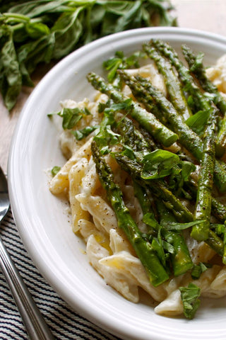 Spring Pasta with Cashew Alfredo and Roasted Asparagus