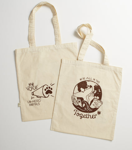Organic Cotton reusable tote printed on both sides