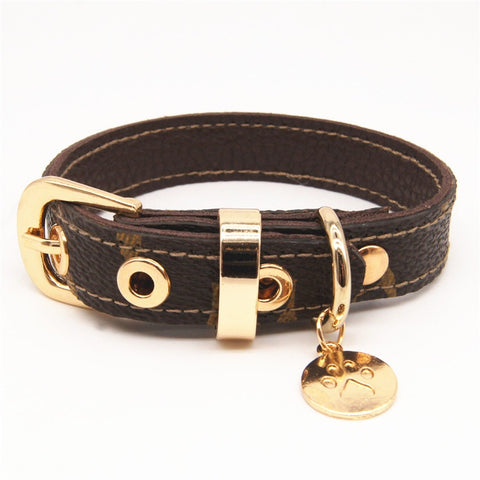 LVDOGGO PREMIUM LEATHER BALLER LEASH AND COLLAR SET #47