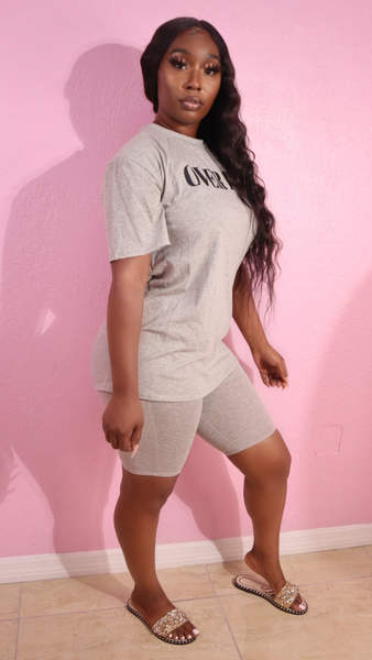 OVER IT SHORTS SET (GRAY)
