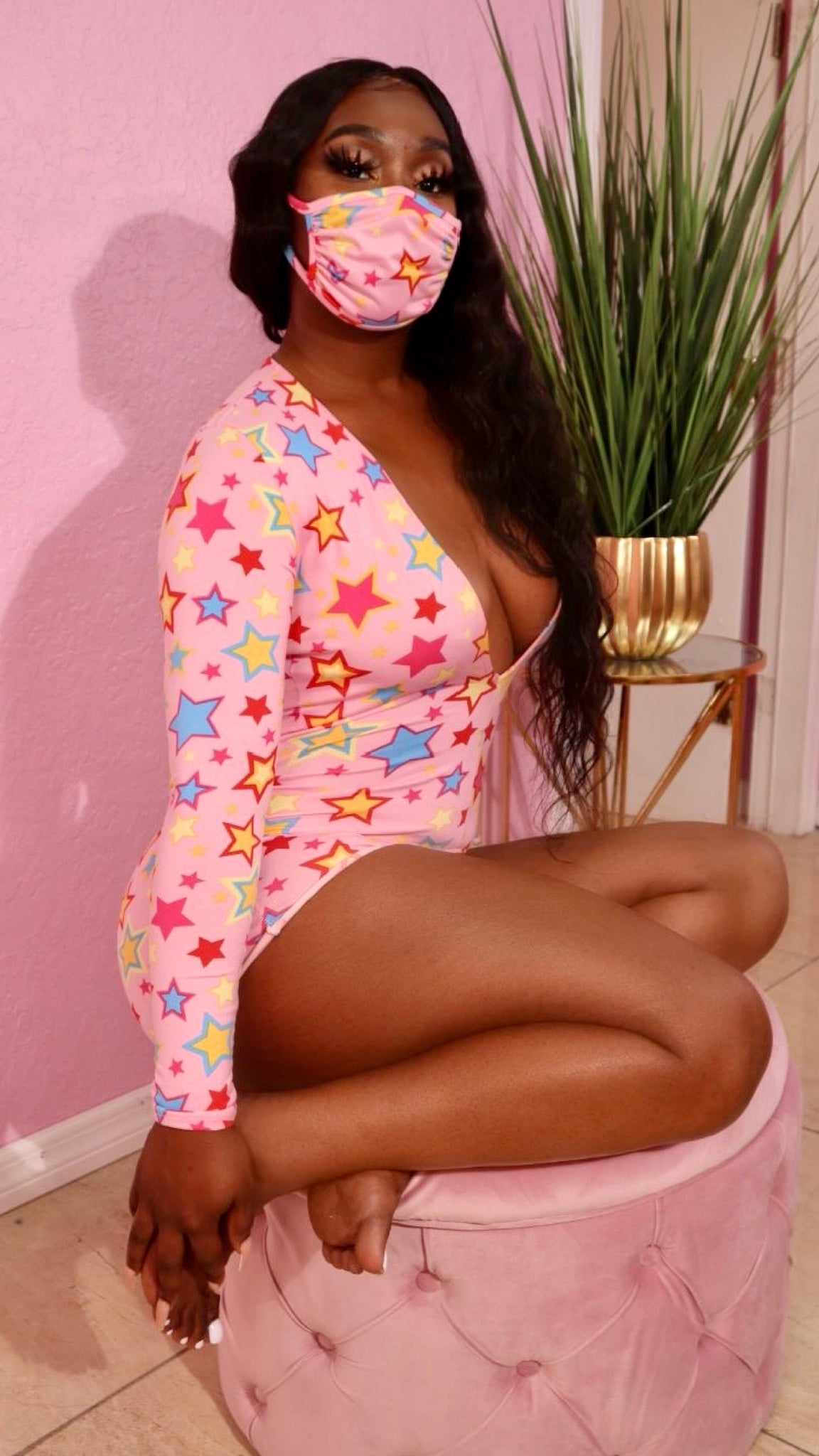 STAR LIGHT PAJAMA ROMPER (PINK) (MASK INCLUDED)