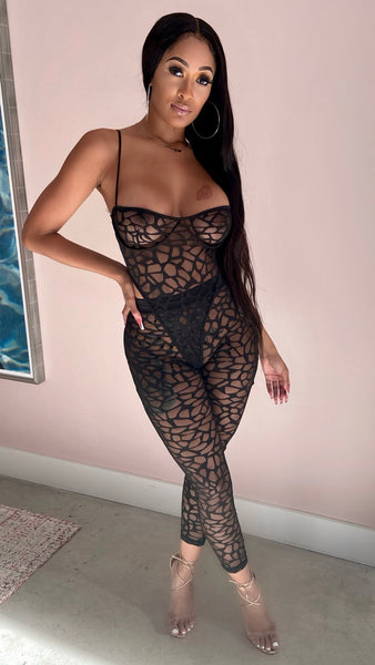 GIANA BODYSUIT MESH LEGGING SET