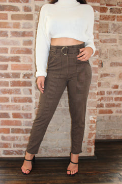 Gingham Belted Trousers