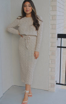 Cable-knit Midi Dress