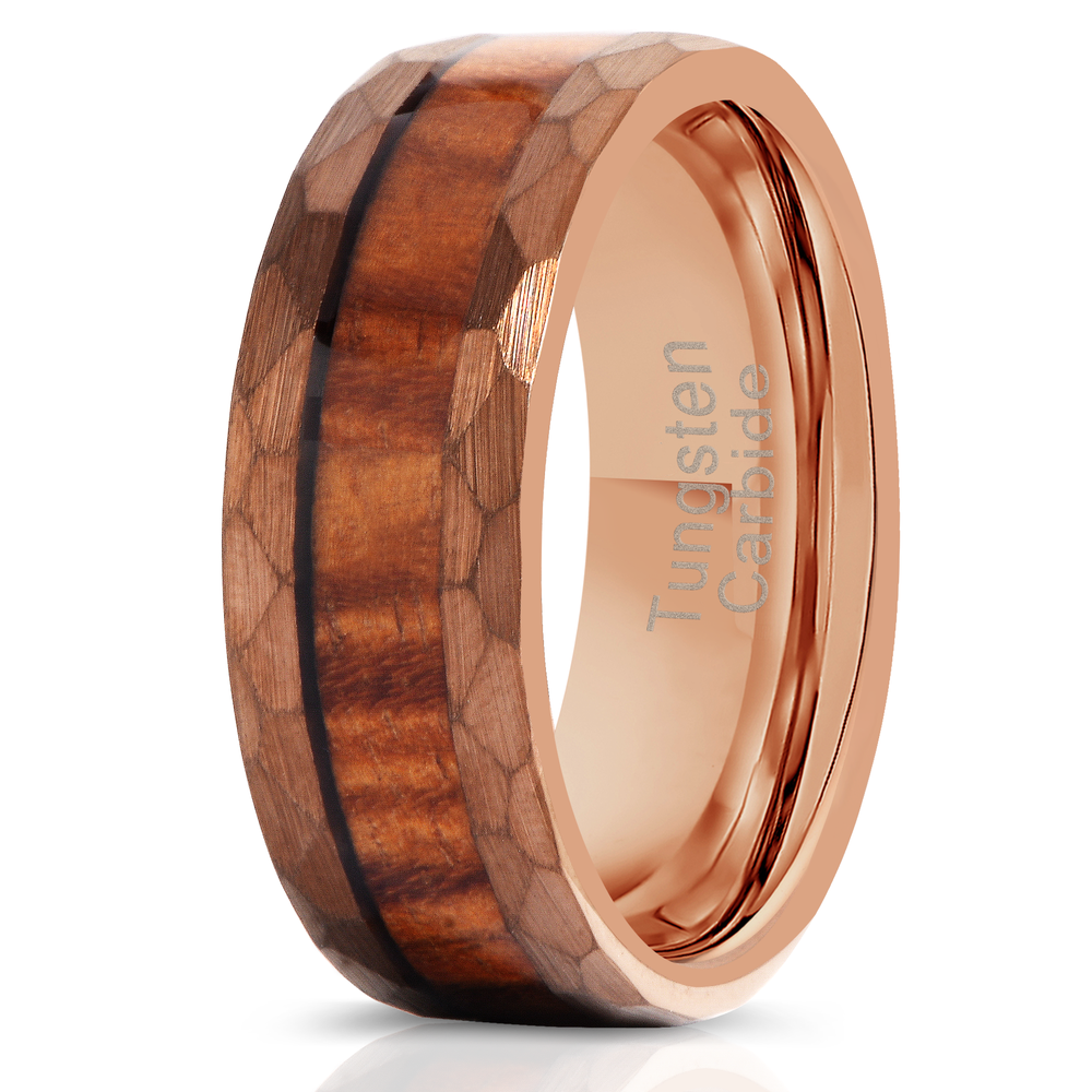 """Zeus"" Hammered Tungsten Carbide Ring- Coffee with Hawaiian Koa Wood-Rings By Lux"