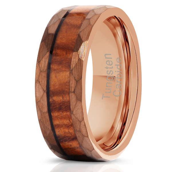 """Zeus"" Hammered Tungsten Carbide Ring- Coffee with Hawaiian Koa Wood"