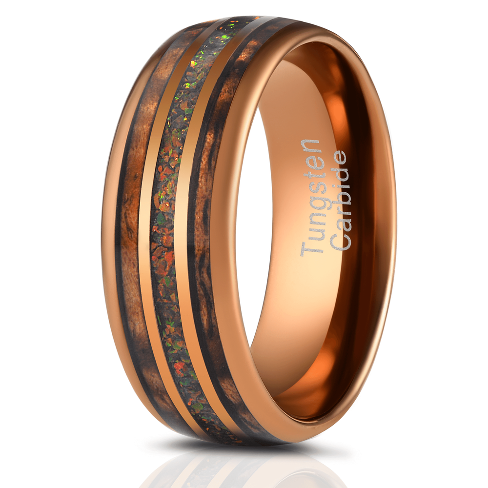 """Dionysus"" Hawaiian Koa Wood x Rasta Opal Rose Gold Tungsten Ring-Rings By Lux"