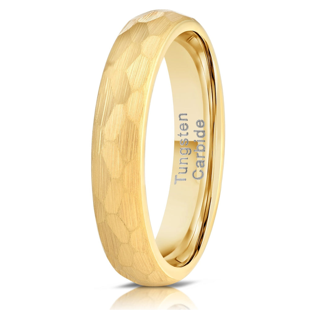 """Zeus"" Womens Hammered Tungsten Carbide Ring- Yellow Gold Plate- 4mm-Rings By Lux"