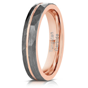 """Zeus"" Womens Hammered Tungsten Carbide Ring- White Gold w/ Rose Gold Strip- 4mm"