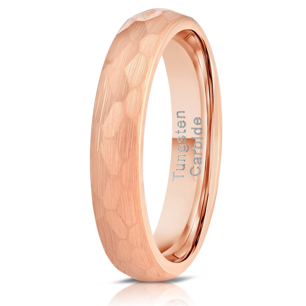 """Zeus"" Womens Hammered Tungsten Carbide Ring- Rose Gold Plate- 4mm-Rings By Lux"
