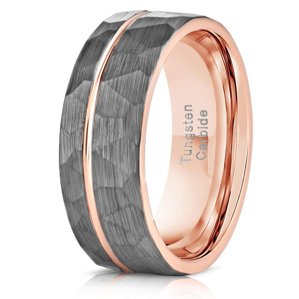 """Zeus"" Hammered Tungsten Carbide Ring- White Gold w/ Rose Gold Strip- 6mm/8mm-Rings By Lux"