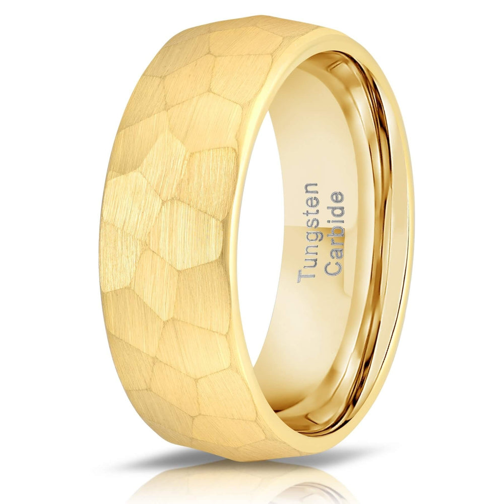 """Zeus"" Hammered Tungsten Carbide Ring- Yellow Gold Plate- 8mm-Rings By Lux"