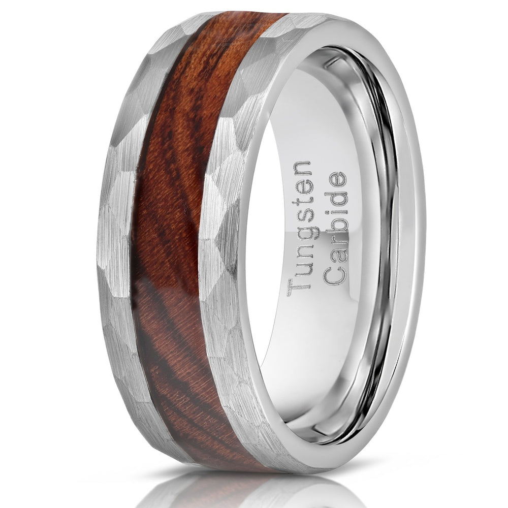 """Zeus"" Hammered Tungsten Carbide Ring- Silver with Desert Ironwood-Rings By Lux"
