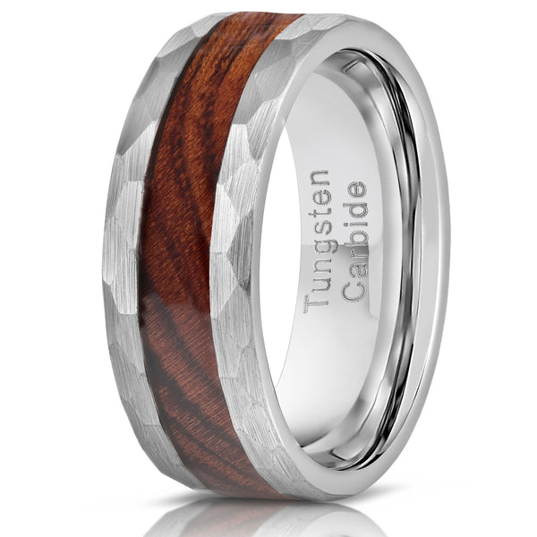 """Zeus"" Hammered Tungsten Carbide Ring- Silver with Desert Ironwood"