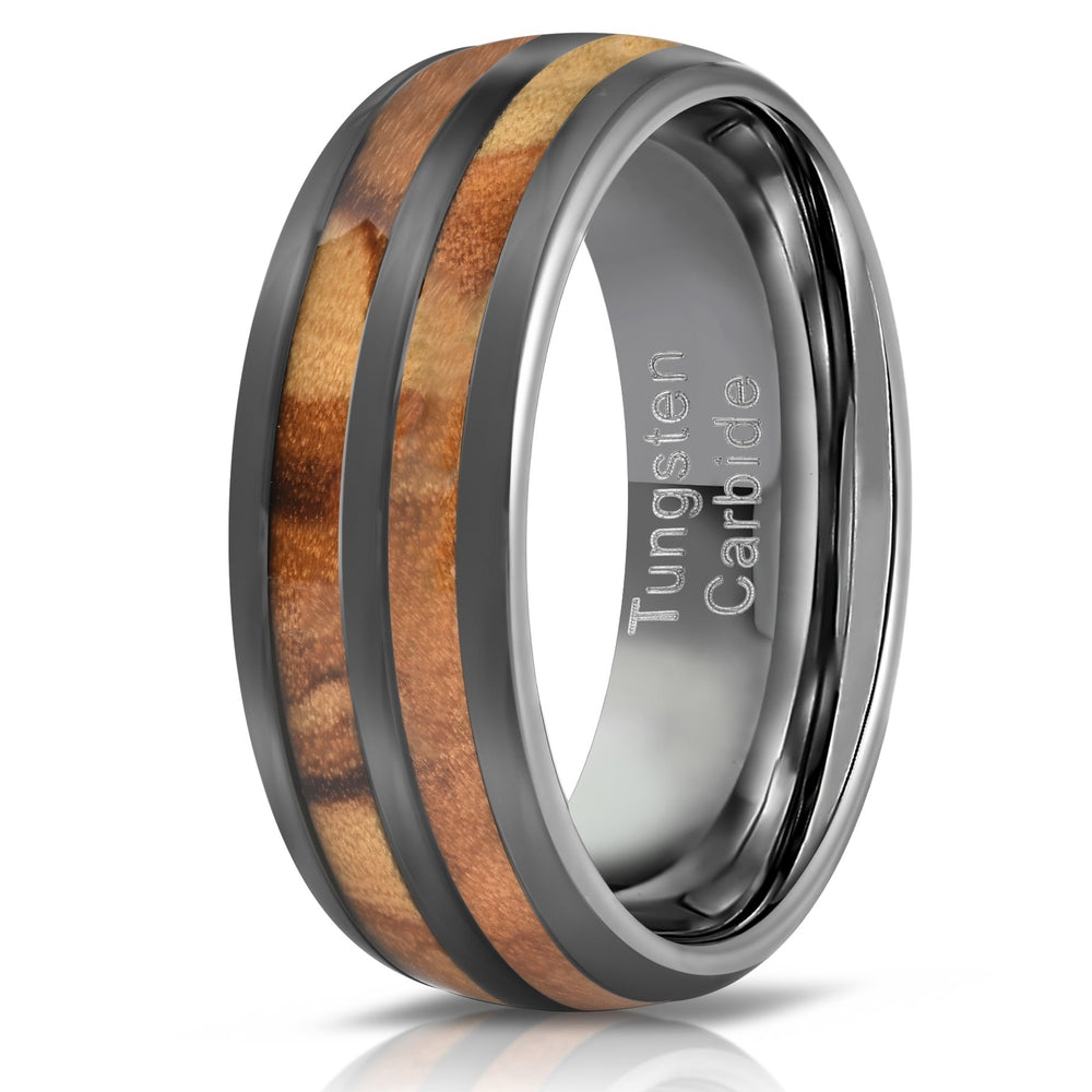 """Dionysus"" Olive Wood Double Barrel Gunmetal Tungsten Ring-Rings By Lux"