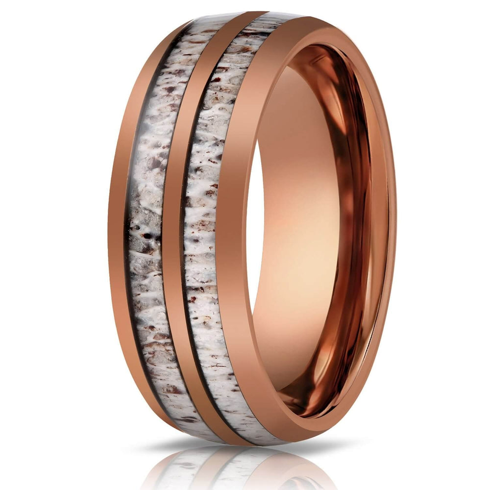 """Dionysus"" Double Barrel Naturally Shed Antler Rose Gold Tungsten Ring- Domed-Rings By Lux"