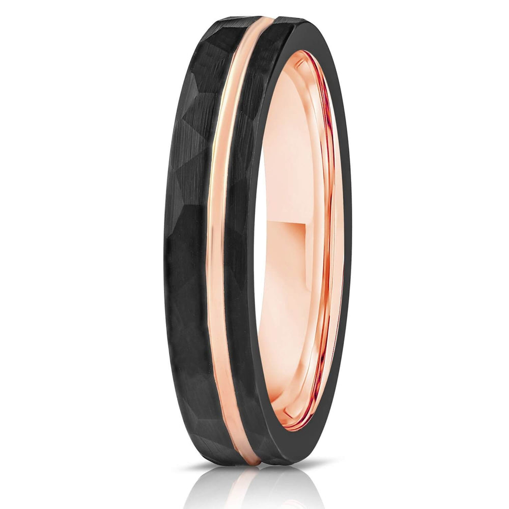 """Zeus"" Womens Hammered Tungsten Carbide Ring- Black w/ Rose Gold Strip- 4mm-Rings By Lux"
