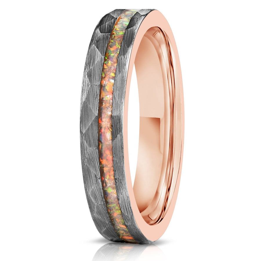 """Zeus"" Womens Hammered Tungsten Carbide Ring- White Gold w/ Opal Inlay- 4mm"