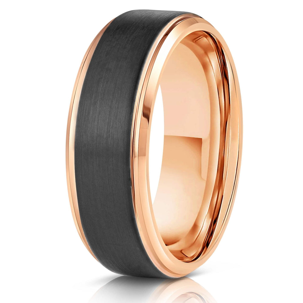 """Apollo"" Tungsten Carbide Ring- Black w/ Rose Gold Strip- 8mm-Rings By Lux"