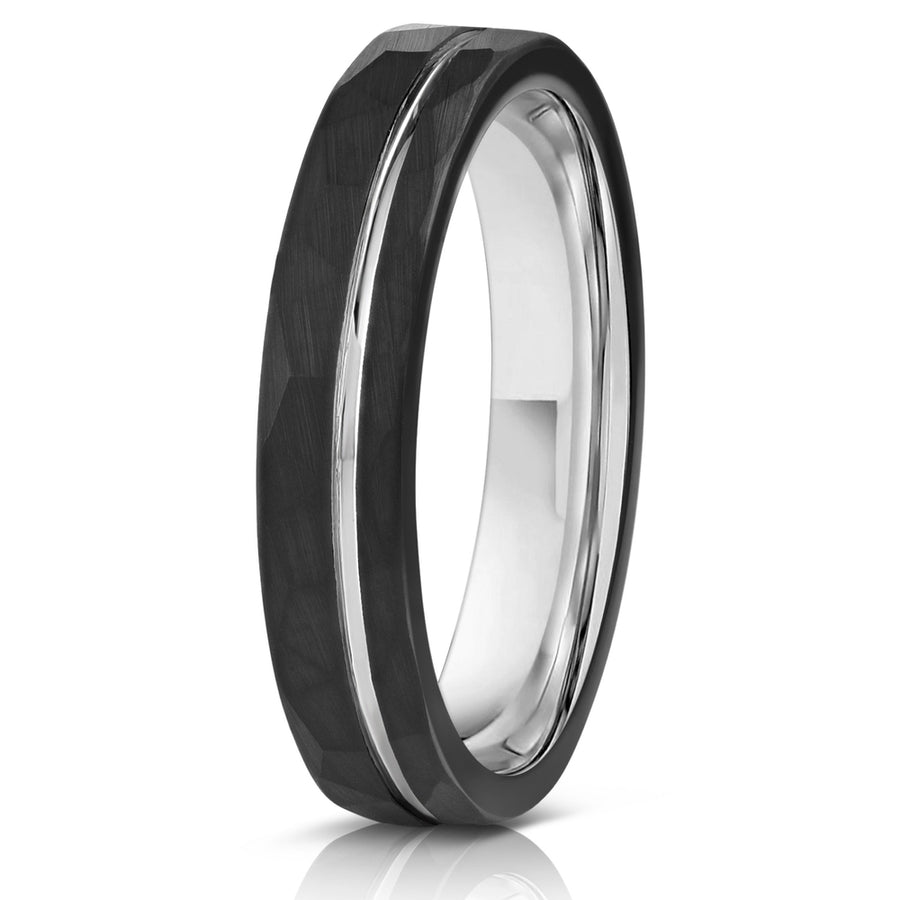 """Zeus"" Womens Hammered Tungsten Carbide Ring- Black w/ White Gold Strip- 4mm"
