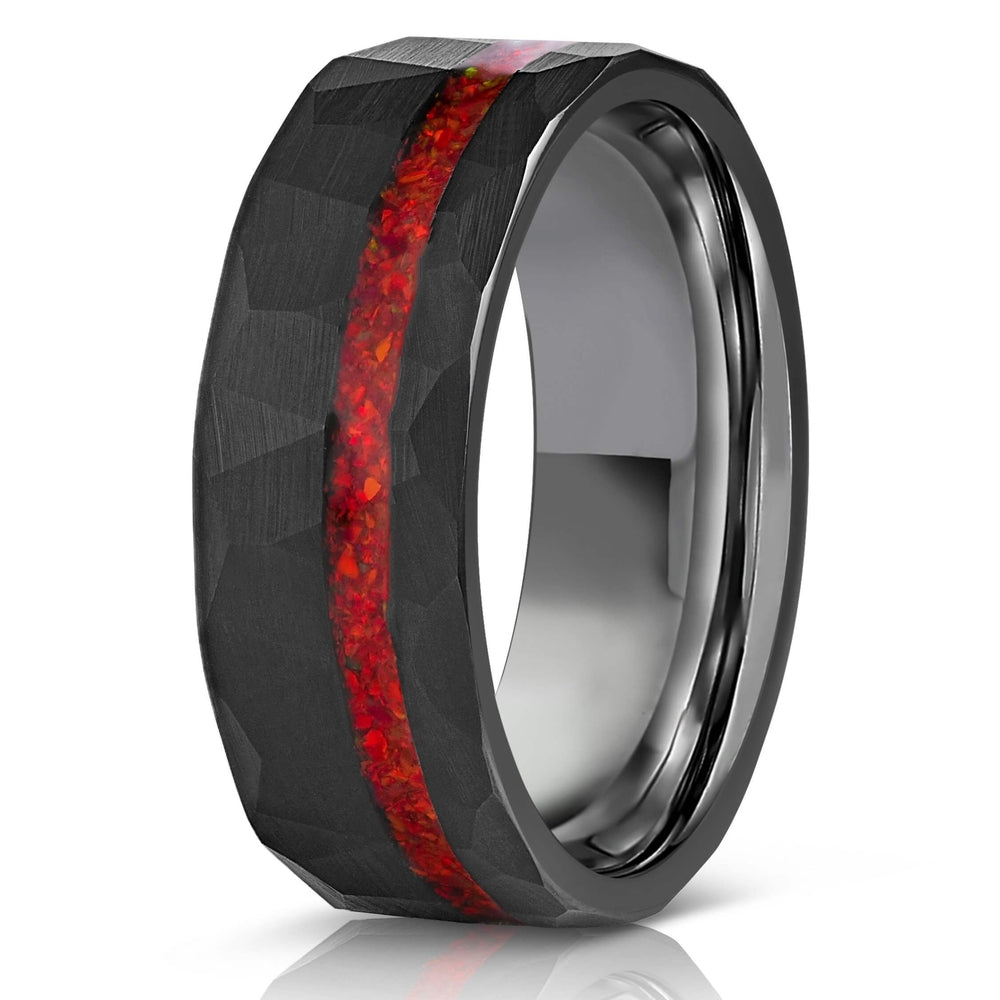 """Zeus"" Hammered Tungsten Carbide Ring- Black w/ Red Opal Strip- 8mm-Rings By Lux"