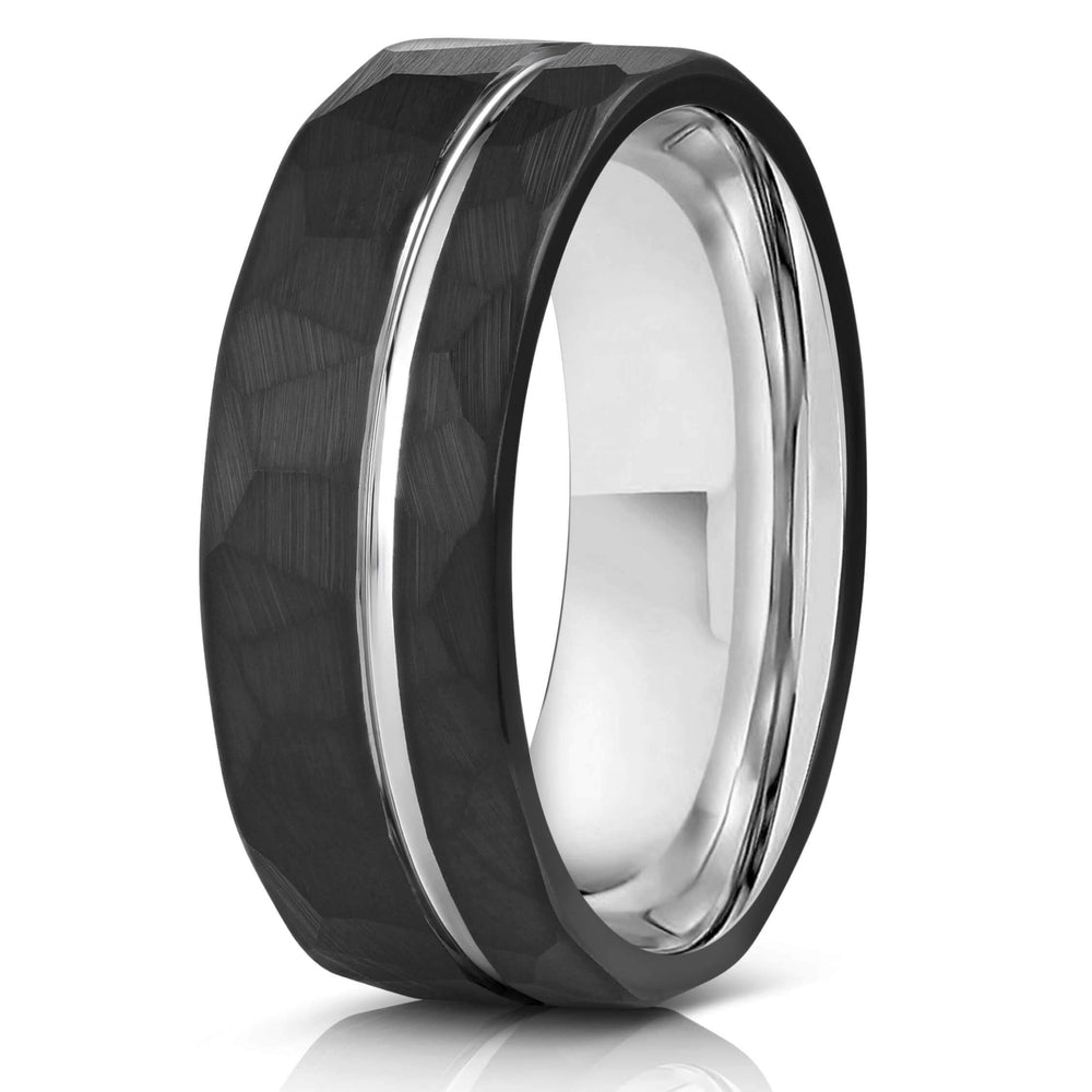 """Zeus"" Hammered Tungsten Carbide Ring- Black w/ White Gold Strip- 8mm-Rings By Lux"