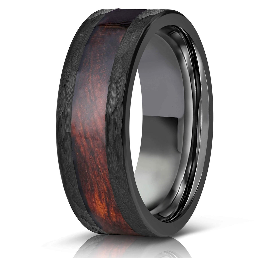 """Zeus"" Hammered Tungsten Carbide Ring- Black with Snake Wood-Rings By Lux"